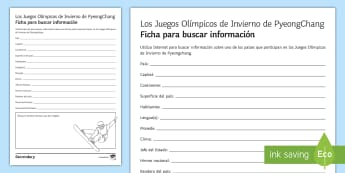 Winter Olympics 2018 Research Activity Sheet Spanish - sports, free, time, internet, IT, worksheet, geography, countries, snow sports, spanish