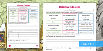 The Wyrmstooth Crown Relative Clauses Game - dragons, grammar, year 5, embedded, drop in, commas, spag, sentences