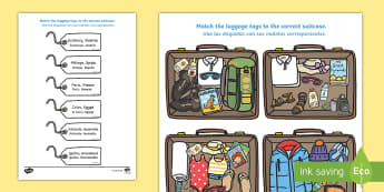 Packing for Weather Around the World Activity English/Spanish - activity, packing, holiday, clothes, what to wear, weather, EAL