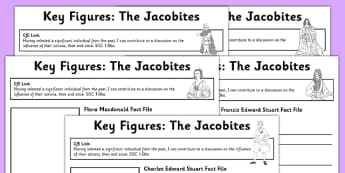 Cfe First Level The Jacobites Key Figures Fact File Pack - CfE, Scottish history, Jacobites, Bonnie Prince Charlie