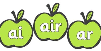 Phase 3 Phonemes on Apples - Phonemes, phoneme, Phase 3, Phase three, Foundation, Literacy, Letters and Sounds, Alphabet, A-Z letters, Alphabet flashcards, letters and sounds, DfES, display, harvest,  harvest festival, fruit, apple, pear, orange, whe