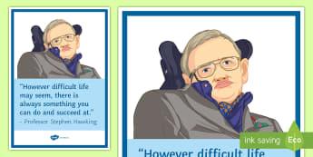 International Disability Day: Professor Stephen Hawking Display Poster  - Stephen, hawking, sen, Disability, banner, display