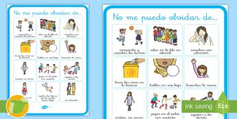 * NEW * Las normas de convivencia en clase  Display Poster - Spanish/Español - reglas, educación, clase, aula, escuela, aprendizaje, niños, alumnos, profesores, enseñanza, prim