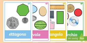 Forme Geometriche 2D con Esempi della Vita di Tutti i Giorni Poster - forme, poster, geometria, geometriche, italiano, italian, 2D, matematica, oggetti, vita, di, tutti,