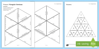 Pressure Tarsia Triangular Dominoes - Tarsia, Dominoes, Pressure, Fluid, Pascal, Atmosphere, Area, Force, plenary activity