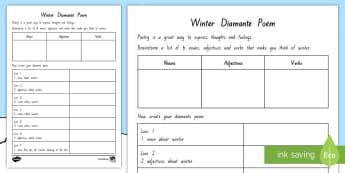 Winter Diamante Poem Worksheet / Activity Sheet - New Zealand, Winter, Seasons, Snow, Skiing, Snowboarding, Mountains, Ski Fields, Snow Day, Diamante