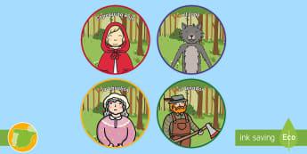 Chapas de juego de rol: Caperucita Roja  - Cuentos, tradicionales, roja, caperucita, niña, lobo