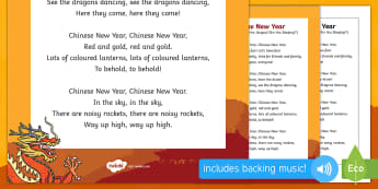 Chinese New Year Song - EYFS, Early Years, Key Stage 1, KS1, Chinese New Year, festivals, Spring Festival, dragon dance, red