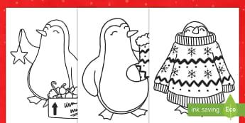 Christmas Penguin Coloring Activity Sheets - penguins, coloring, Christmas, mindfulness, worksheet, december, animals, craft, break