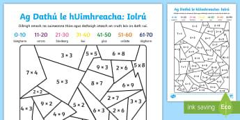 Ag Dathú le hUimhreacha: Iolrú - Iolrú, Méadú, Mulitply, Multiplication, Mata, Maths, Matamaitic, Gaelscoil, Irish-Medium Schools,