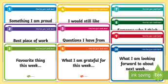 Reflection on the Week Blether Stations - IDL Resources, Blether Stations, reflection, pupil self-assessment, weekly reflections,Scottish