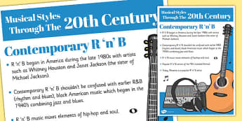 Musical Styles Through the 20th Century: Contemporary R 'n' B Information Poster