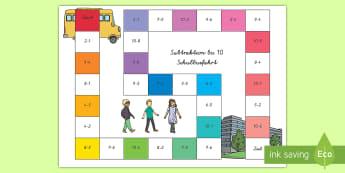 Subtraktion bis 10 Schulbusfahrt Brettspiel - subtrahieren, minus, minus rechnen, rechnen, Busfahrt, Brettspiel, Mathematik,German