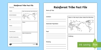The Tribes of the Rainforest Fact File Activity Sheet -  second level topics,civilisations, different settlement, culture