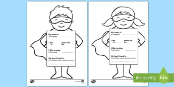 All About Me Superhero Worksheet / Activity Sheet English/French - Ourselves, All about me, family, Ks1, Y1, Year 1, EYFS, Reception, Growing, growth, EAL French,Frenc