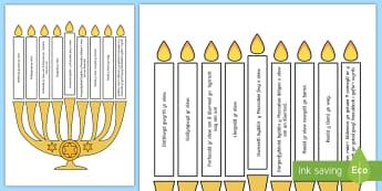 Pos Goleuo Canhwyllau Hanukkah - menorah, olew, gwyth, oil, miracle, teml, temple