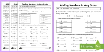 Y2 Adding Numbers in Any Order Differentiated Activity Sheets - Commutative and Associative laws, addition, Maths, Numeracy, numbers to 20, adding 2 digit numbers,