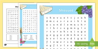 KS2 Shavuot Word Search - Shavuot, (30.5.17), word search, Torah, Ten Commandments, harvest, festival, religious beliefs, Mose