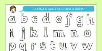 Letter Writing Worksheet Gaeilge - roi, irish, gaeilge, letter formation, writing, grammar, alphabet