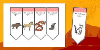 Editable Chinese New Year Bookmarks - Chinese New Year, Bookmark, bookmark template, present, book, reward, achievement, China, lantern, dragon, chopsticks, noodles, year of the rabbit, ox, snake, fortune cookie, pig