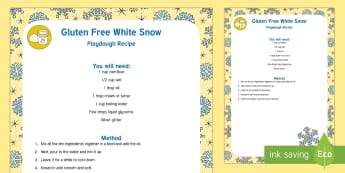 Gluten Free White Snow Playdough Recipe - playdough, recipe, white snow