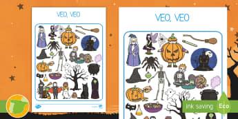Juego: Veo, veo de Halloween - noche de brujas, juego, juegos, encontrar, donde está, actividad didáctica, actividades didáctica