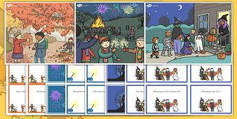 Autumn Scenes and Question Cards Pack - autumn, scenes, question cards, pack