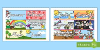 Jahresmonate Rahmen zum Ausdrucken für die Klassenraumgestaltung - Jahresmonate, Monate, Display, Rahmen, Displayrahmen,German