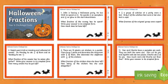 Year 6 Halloween Fractions Challenge Cards