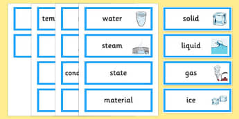 Changing State Word Cards - States, word card, flashcards, liquid, gas, solid, ice, forces, movement, gravity, push, pull, Magnet, friction, science, knowledge and understanding of the world