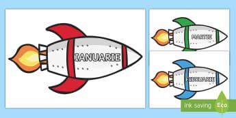 Lunile anului pe rachete Decupabile  - rutina zilnică, viața de zi cu zi, cosmic, spațiu, planete,Romanian