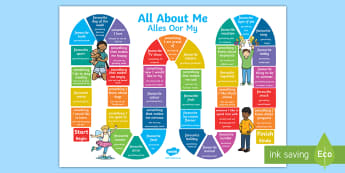 All About Me Board Game English/Afrikaans - myself, friends, group, play, game, knowledge, favourites, EAL