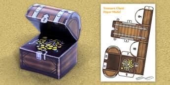 Treasure Chest Paper Model - treasure chest, paper, model, craft