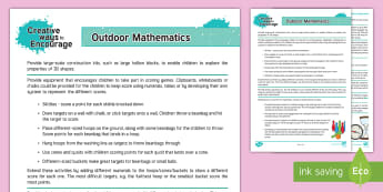 EYFS Creative Ways to Encourage Outdoor Mathematics Teaching Ideas - Maths, numeracy, number, SSM, Shape space measure, outdoor learning, outdoor area, child-led, Contin