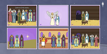 Povestea Crăciunului - Planșe pentru repovestire - poveste, crăciun, planșe, repovestire, secvențe, imagini, nașerea Domnului, iarnă, materiale didactice, română, romana, material, material didactic