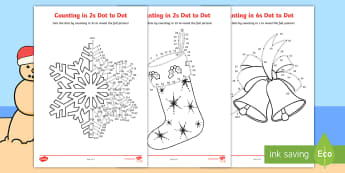Christmas Counting in 2s Dot to Dot Colouring Pages-Australia - Christmas Australia, dot to dot, colouring pages, colouring, even numbers, multiple, maths, 2s, math