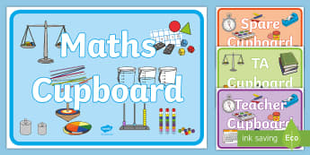 Classroom Cupboard Display Posters - Maths Cupboard Sign - maths cupboard, sign, maths, cupboard, matsh