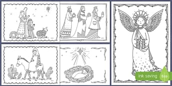 nativity christmas mindfulness colouring