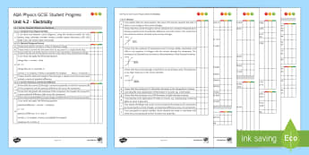 AQA Physics Unit 4.2 Electricity Student Progress Sheet - Student Progress Sheets, AQA, RAG sheet, Unit 4.2 Electricity, Physics