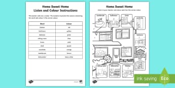Home Sweet Home Listen and Colour the Correct Word Activity - Home, Sweet, Home, Aistear, Story, Houses, Homes, Literacy, Irish