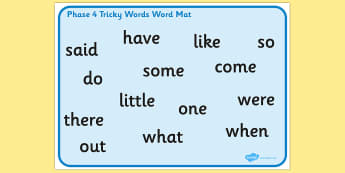 Phase 4 Tricky Words Word Mat - mats, trick, visual, aid, aids