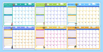 2018 Themed Display Calendar English/Afrikaans - year, annual, yearly, annually, months, weeks, jaar, EAL