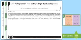 PlanIt Maths Y6 Addition, Subtraction, Multiplication and Division Long Multiplication Top Cards Differentiated Home Learning Tasks - Addition, Subtraction, Multiplication and Division, long multiplication, written methods, year 6 pra