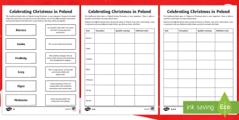 KS2 Celebrating Christmas in Poland Differentiated Writing Activity Sheet - Christmas, Nativity, Jesus, xmas, Xmas, Father Christmas, Santa, St Nic, Saint Nicholas, traditions,