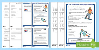 KS1 The Winter Paralympic Games Differentiated Reading Comprehension Activity - non fiction, disability, winter paralympics, guided reading, south korea