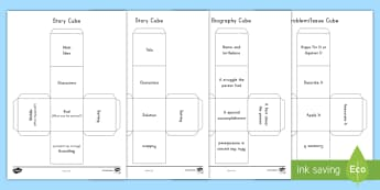 Reading Cubes Activity Sheet - understanding, summary, retell, recount, autobiography, biography, story