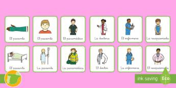 * NEW * Chapas de juego de rol: Trabajando en el hospital  Spanish / Español - Medicina, médico, médica, salud, hospital, enfermero, enfermería, enfermero, enfermedad, enfermed