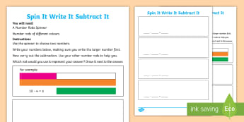 KS1 Spin It Write It Subtract It Number Rods Worksheet / Activity Sheet - Cuisenaire Rods, Number Rods, Subtraction, Take Away, Written Calculation, Year 1, Year 2, Key Stage