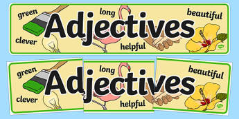Adjectives Display Banner - adjectives display banner, adjective, adjectives, display, banner, sign, poster, grammar, English, word, words, type, do