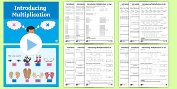 KS1 Introducing Multiplication Maths Differentiated Resource Pack - Times, array, counting, Pairs, Twos, Fives, Tens